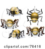 Royalty Free RF Clipart Illustration Of A Digital Collage Of A Yellow Spider In Different Poses by BNP Design Studio