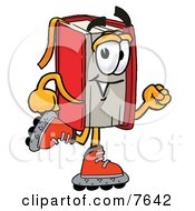Clipart Picture Of A Red Book Mascot Cartoon Character Roller Blading On Inline Skates