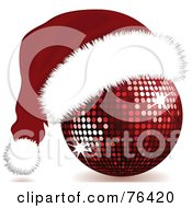 Royalty Free RF Clipart Illustration Of A Red Sparkling Disco Ball With A Santa Hat On by elaineitalia