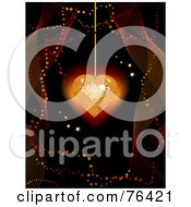 Royalty Free RF Clipart Illustration Of A Sparkling Gold Disco Heart Suspended Over Black With Mesh Waves