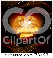 Royalty Free RF Clip Art Illustration Of A Mesh Waves Around A Glowing Disco Heart With A Blank Banner