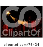 Royalty Free RF Clipart Illustration Of A Star Shooting Over Skyscrapers In A City At Night