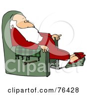 Royalty Free RF Clipart Illustration Of Kris Kringle Relaxing In A Green Recliner