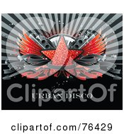 Royalty Free RF Clipart Illustration Of A Red Glitter Star With Wings Speakers A Keyboard Guitars And A Blank Banner Over A Burst With Sample Text by elena #COLLC76429-0147