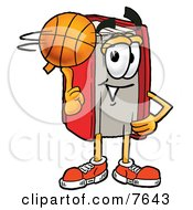 Clipart Picture Of A Red Book Mascot Cartoon Character Spinning A Basketball On His Finger