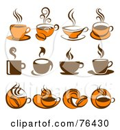 Royalty Free RF Clipart Illustration Of A Digital Collage Of Brown And Orange Coffee Logo Icons by elena