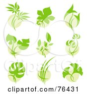 Royalty Free RF Clipart Illustration Of A Digital Collage Of Green Leaf Over Circle Logo Icons by elena
