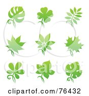 Royalty Free RF Clipart Illustration Of A Digital Collage Of Green Plant Leaf Logo Icons by elena