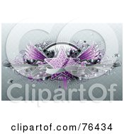 Royalty Free RF Clipart Illustration Of A Blank Banner Over A Purple Star Keyboard Wings Speakers And Guitars On Gray