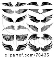 Royalty Free RF Clipart Illustration Of A Digital Collage Of Black And White Wing Logo Icons by elena #COLLC76435-0147