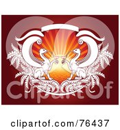 Royalty Free RF Clipart Illustration Of Two Gryphons Drinking Cocktails Against A Sunset On Red