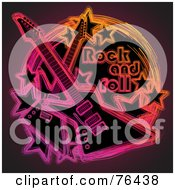 Royalty Free RF Clipart Illustration Of Neon Electric Guitars With Stars In A Rock And Roll Circle by elena #COLLC76438-0147