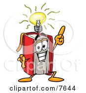 Red Book Mascot Cartoon Character With A Bright Idea by Toons4Biz