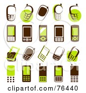 Royalty Free RF Clipart Illustration Of A Digital Collage Of Brown And Green Cell Phone Logo Icons