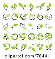 Royalty Free RF Clipart Illustration Of A Digital Collage Of Green Leaf And Stem Logo Icons by elena