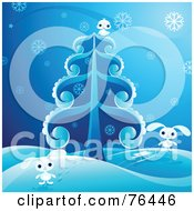 Adorable White Bunnies And A Bird Playing In The Snow Around An Evergreen Tree