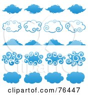 Royalty Free RF Clipart Illustration Of A Digital Collage Of Blue Cloud Shape Logo Icons by elena