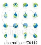Royalty Free RF Clipart Illustration Of A Digital Collage Of Green Leaf And Water Droplet Logo Icons by elena #COLLC76449-0147