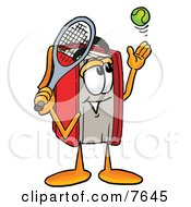 Red Book Mascot Cartoon Character Preparing To Hit A Tennis Ball by Toons4Biz