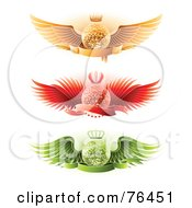 Royalty Free RF Clipart Illustration Of A Digital Collage Of Blank Banners Over Crowned Gold Red And Green Winged Disco Balls On White by elena