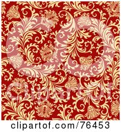 Red Background With A Seamless Elegant Floral Design