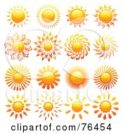 Royalty Free RF Clipart Illustration Of A Digital Collage Of Shiny Sun Logo Icons