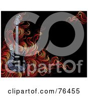 Royalty Free RF Clipart Illustration Of A Zebra Print Guitar Over Flames On Black