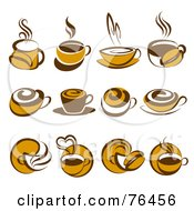 Royalty Free RF Clipart Illustration Of A Digital Collage Of Brown Coffee Logo Icons
