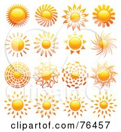 Royalty Free RF Clipart Illustration Of A Digital Collage Of Shiny Summer Sun Logo Icons