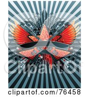 Bursting Background With Sparkly Guitars Star Speakers And Wings With A Blank Banner
