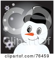 Smiling Snowman With A Hat Over Black With Snowflakes