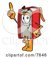 Clipart Picture Of A Red Book Mascot Cartoon Character Pointing Upwards