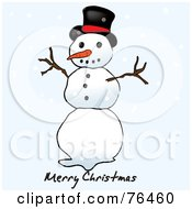 Merry Christmas Top Hat Snowman Greeting With Snowflakes