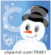 Smiling Snowman With A Hat Over Blue With Snowflakes