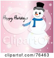 Happy Holidays Snowman Greeting On Pink With Snowflakes