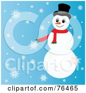 Royalty Free RF Clipart Illustration Of A Snowman With Ornaments On His Arms And A Santa Hat by Pams Clipart