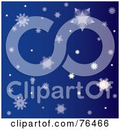 Royalty Free RF Clipart Illustration Of A Dark Blue Background Of Falling Winter Snowflakes by Pams Clipart