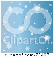 Royalty Free RF Clipart Illustration Of A Blue Background Of Falling Winter Snowflakes by Pams Clipart
