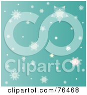 Royalty Free RF Clipart Illustration Of A Greenish Background Of Falling Winter Snowflakes by Pams Clipart
