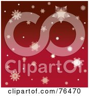Royalty Free RF Clipart Illustration Of A Red Background Of Falling Winter Snowflakes by Pams Clipart