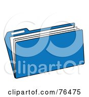Royalty Free RF Clipart Illustration Of A Blue Manilla File Folder by Pams Clipart