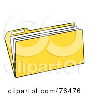 Royalty Free RF Clipart Illustration Of A Yellow Manilla File Folder by Pams Clipart