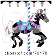 Royalty Free RF Clipart Illustration Of A Black Carousel Horse With White And Purple Hair