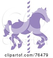 Royalty Free RF Clipart Illustration Of A Silhouetted Purple Carousel Horse On A Pole