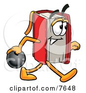 Red Book Mascot Cartoon Character Holding A Bowling Ball by Toons4Biz