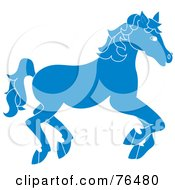 Royalty Free RF Clipart Illustration Of A Running Blue Carousel Horse