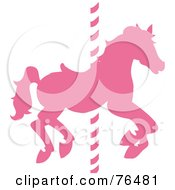 Royalty Free RF Clipart Illustration Of A Silhouetted Pink Carousel Horse On A Pole by Pams Clipart