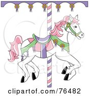 Royalty Free RF Clipart Illustration Of A White Carousel Horse With Pink Hair