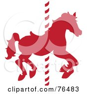 Royalty Free RF Clipart Illustration Of A Silhouetted Red Carousel Horse On A Pole