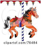 Royalty Free RF Clipart Illustration Of An Orange Carousel Horse With Black Hair